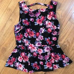 Forever 21 Tops - Floral Peplum Shirt